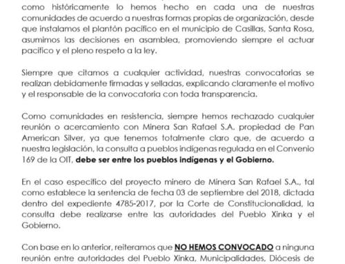 Comunicado: Parlamento Xinka denuncia 'invitación anónima' a una reunion con Minera San Rafael