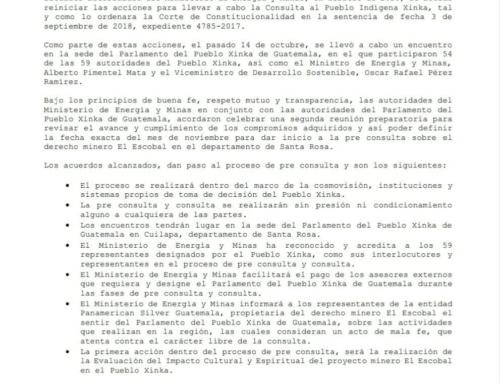 Autoridades ancestrales del Pueblo Xinka y autoridades del Ministerio de Energía y Minas reinician el diálogo para el inicio de la pre consulta
