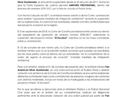 Parlamento Xinka denuncia la provocación de Pan American Silver